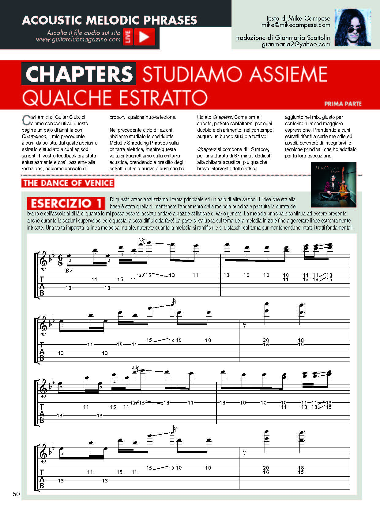 Mike Campese - Chapters Lesson - Pt-1- Page 1 -Guitar Club Mag - Oct 2016