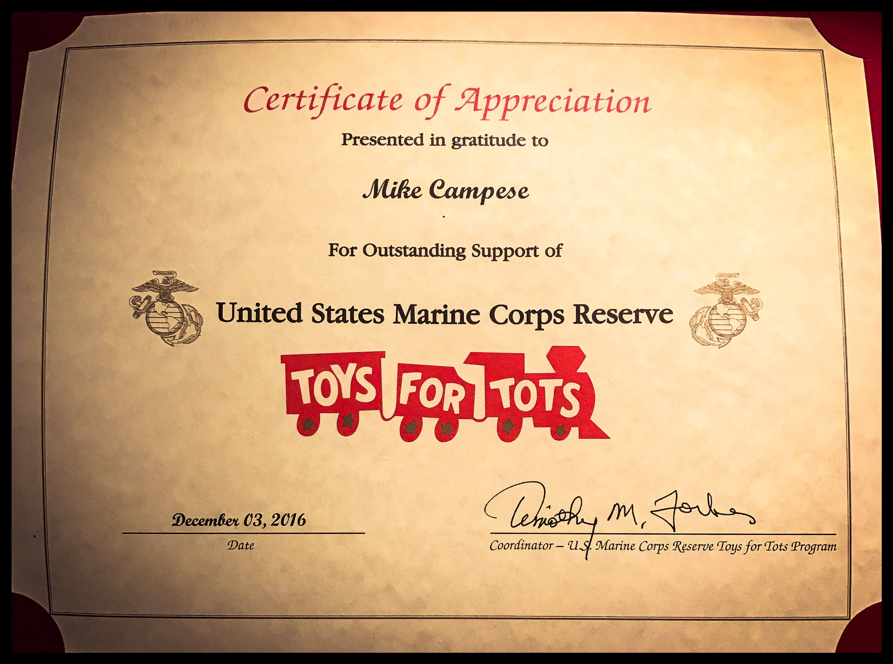 """Toys For Tots Marine Corps : Award us marine corps and """"toys for tots mike campese"""